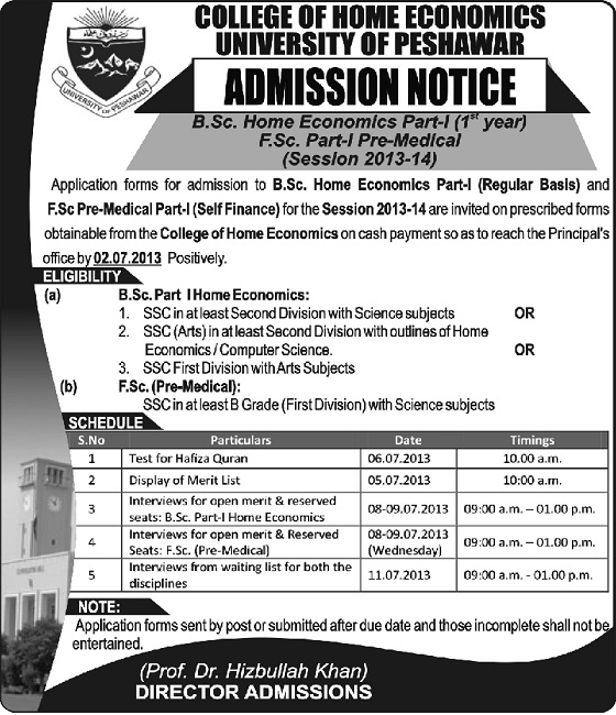 UoP offers Admissions in BSc Home Economics